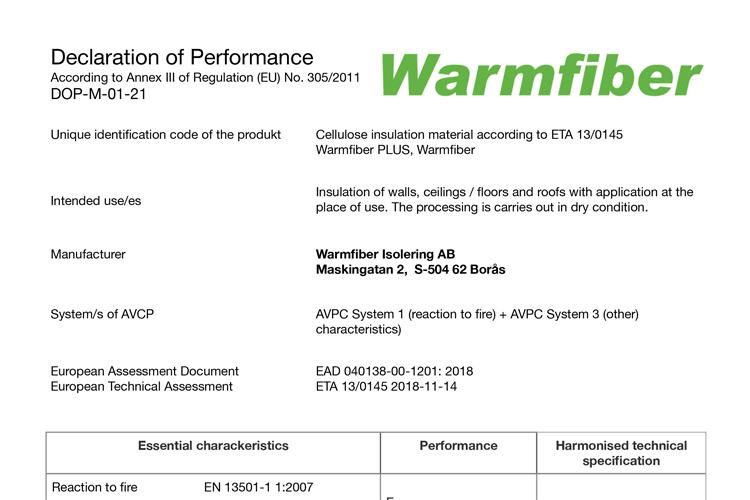 Dokumentation for lambda værdi på Warmfiber papirisolering