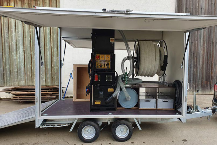 trailer setup for blowing insulation