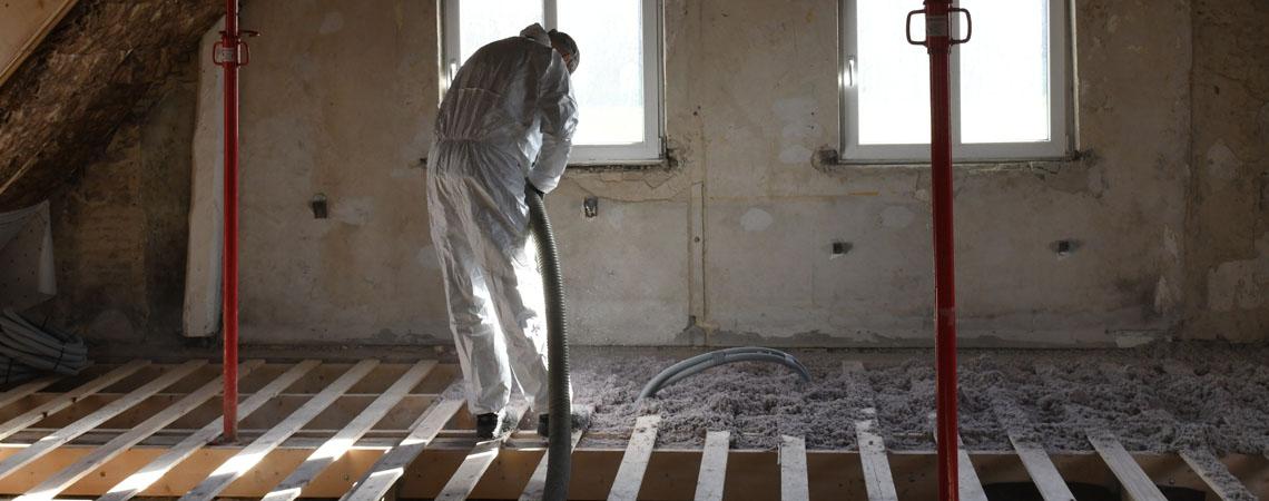 isolering af etageadskillelse med papiruld