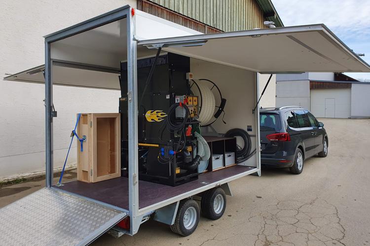 udlejning af isoleringsmaskine med trailer og udstyr